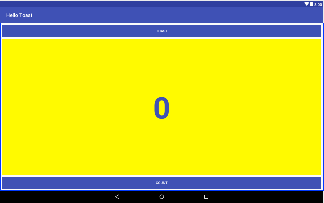 Preview of the Hello Toast layout on a tablet device.