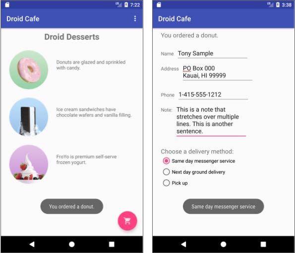 Droid Cafe app