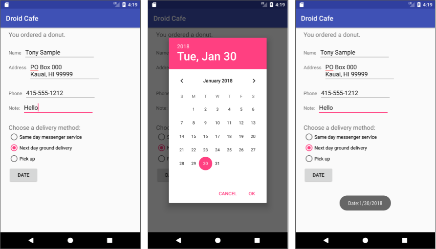 Including a date picker in the Droid Cafe app.