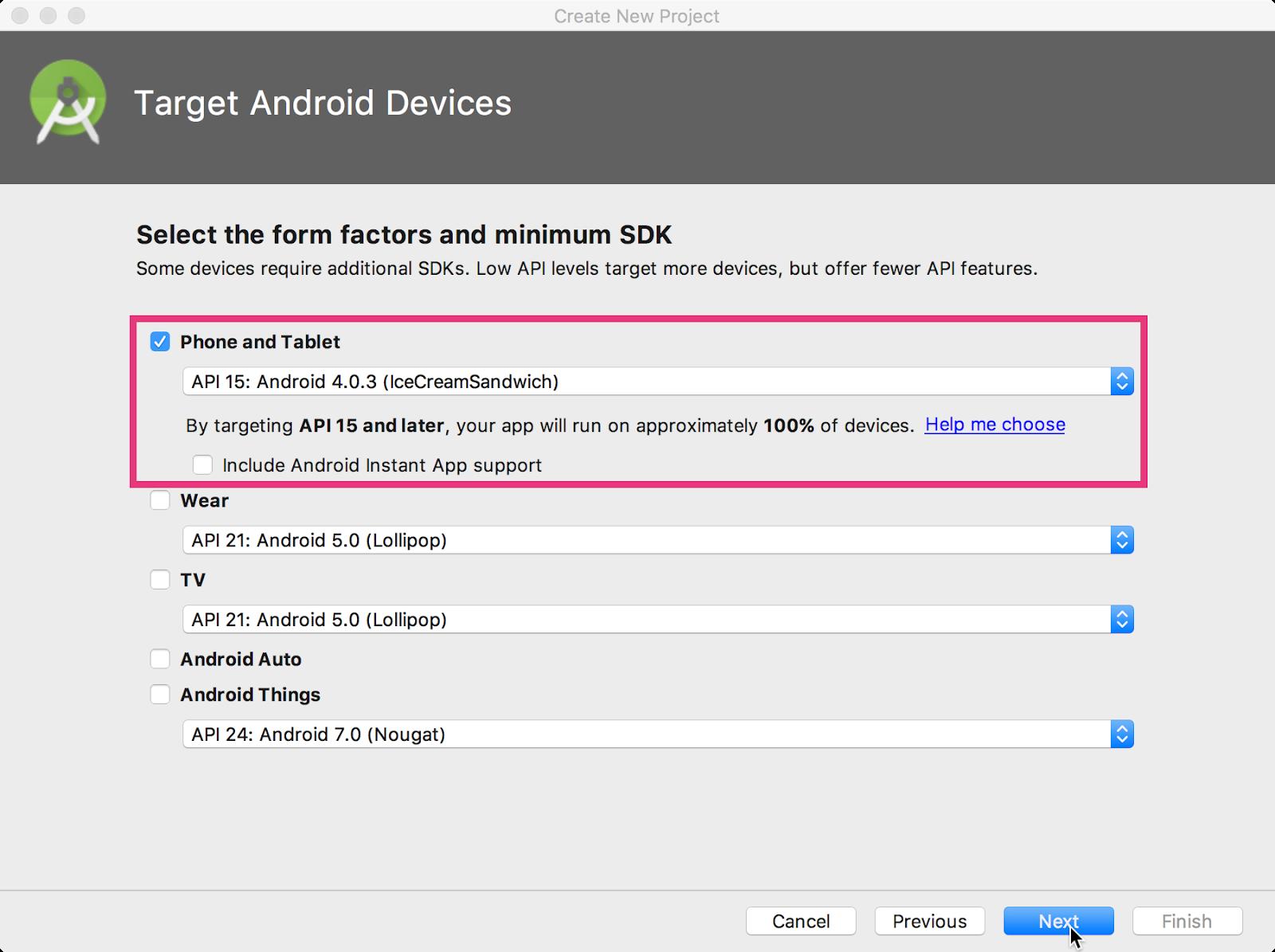 Minimum SDK section in Android Studio