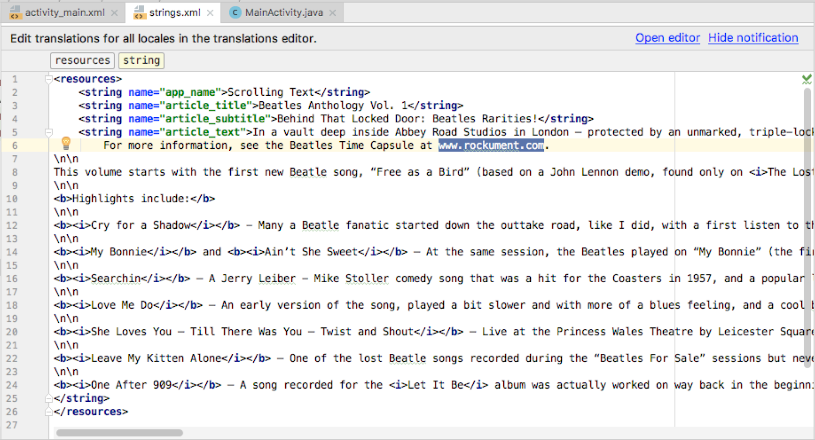 The Article Text with HTML Tags