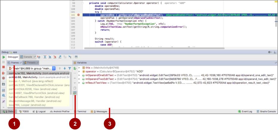 Debug pane in Android Studio