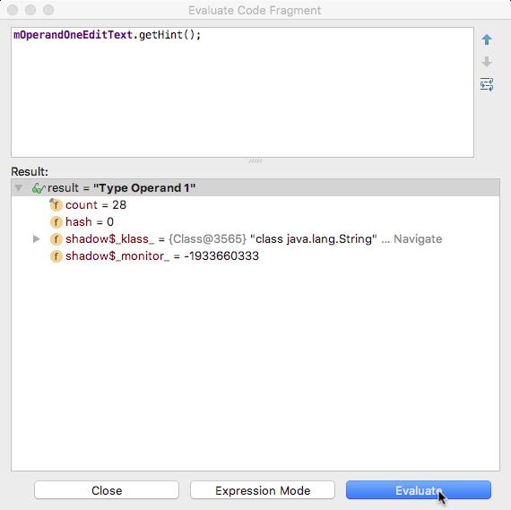 Evaluate Code Fragment window