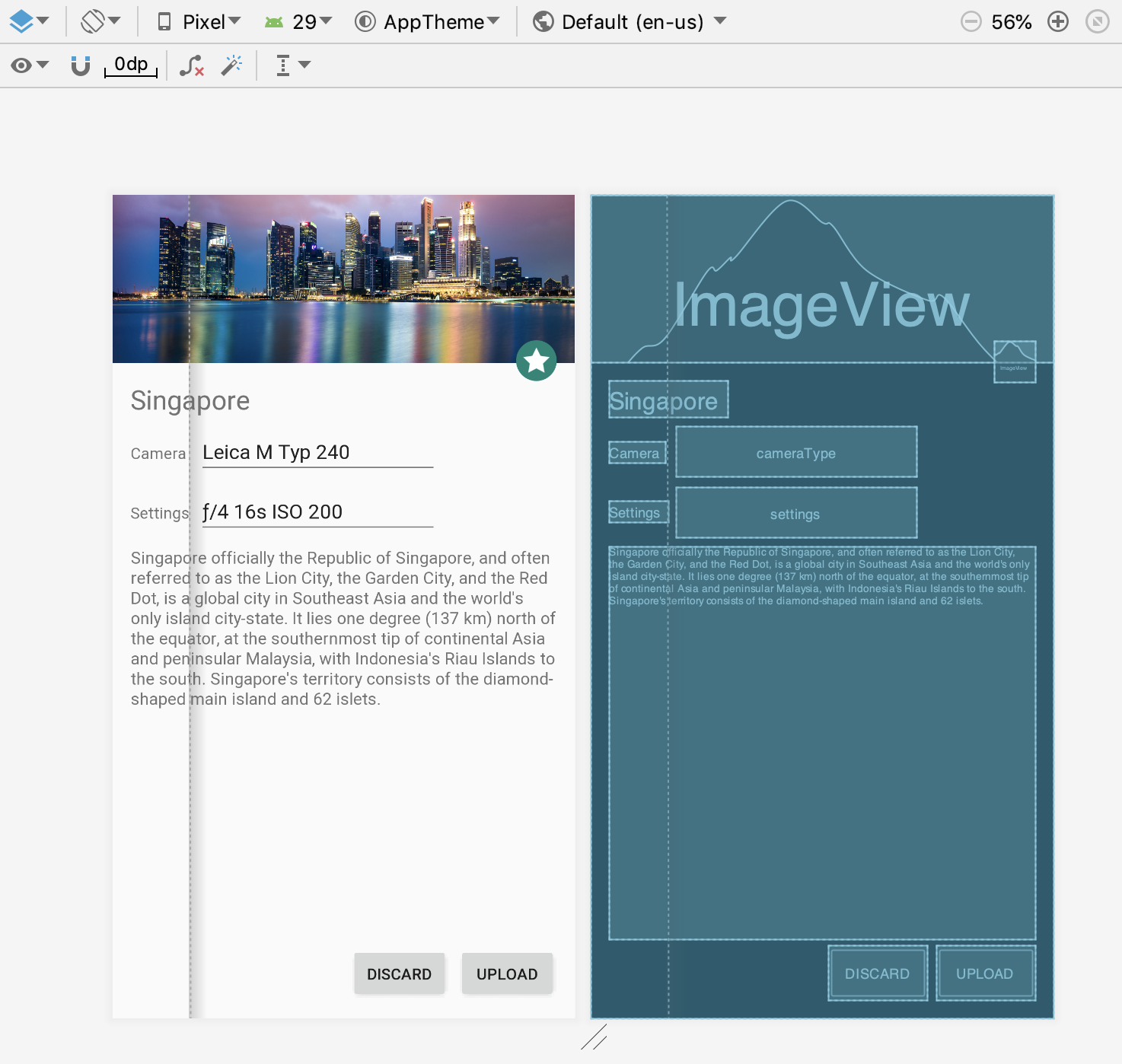 Header image, offset fab, and some buttons and text boxes using Constraint Layout.