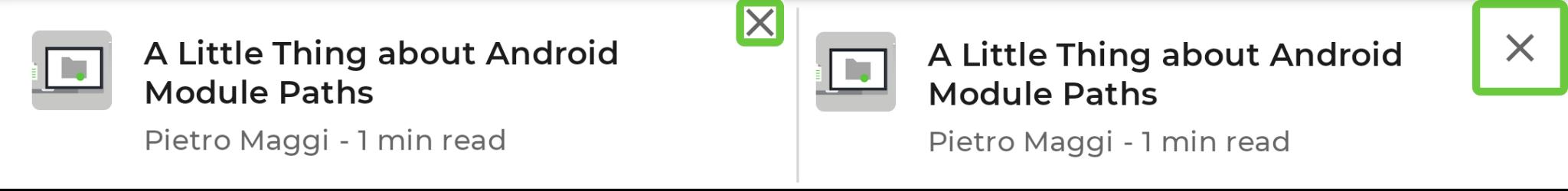 Perbandingan item daftar yang menampilkan garis batas kecil ikon silang di sebelah kiri, garis besar di sebelah kanan.