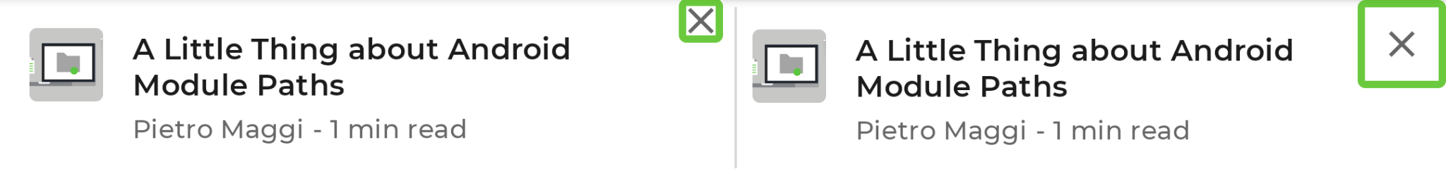 リストアイテムの比較。左が小さな輪郭の × アイコン、右が大きな輪郭の × アイコン。