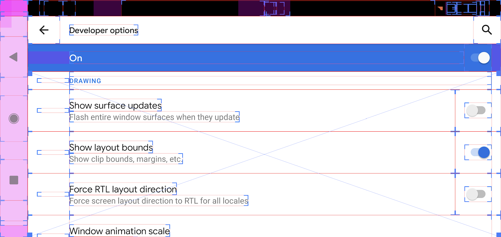 Screenshot showing layout bounds on screen.