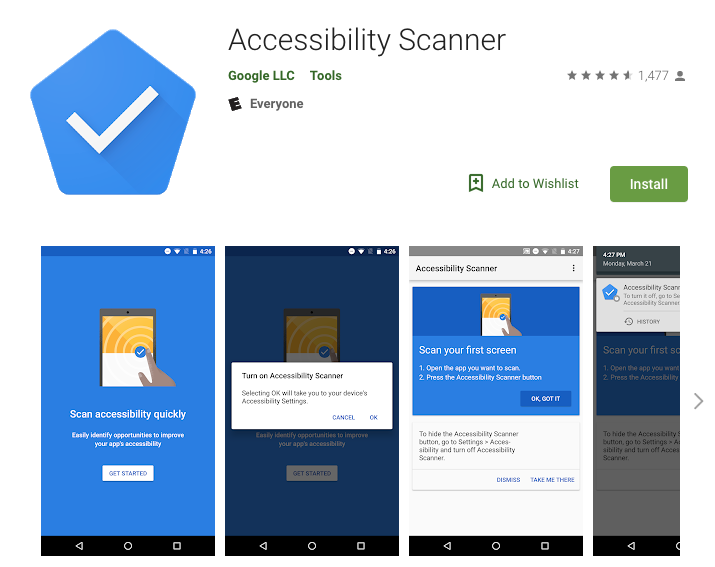 Accessibility Scanner on the Play Store