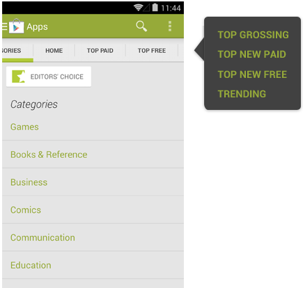 Android horizontal lists