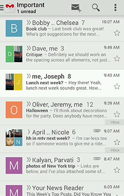 Gmail in Holo Light.