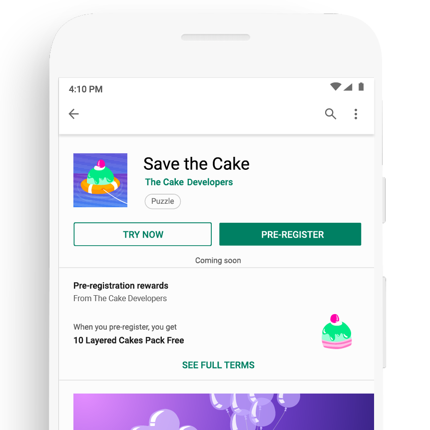 App with pre-registration