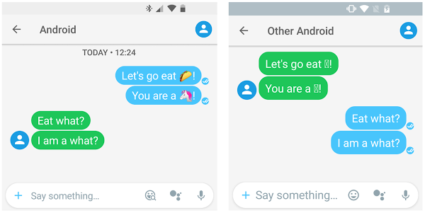 Dispositivos que muestran emojis