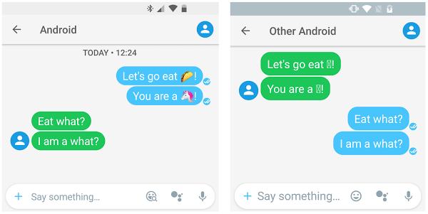 Dispositivos mostrando emojis