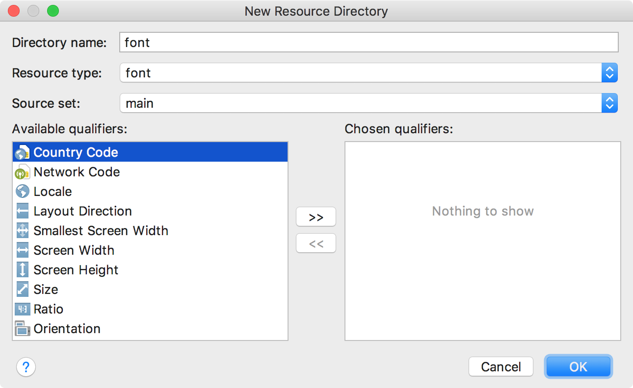 Adding the font resource directory