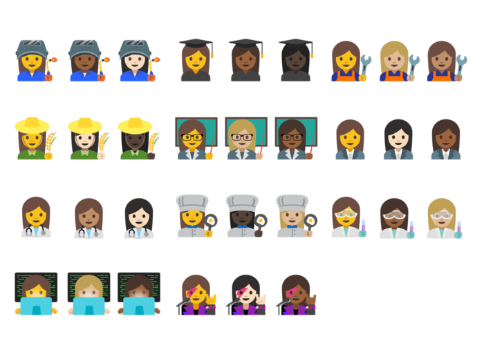 Collection of new professional female emoji in a variety of skin tones