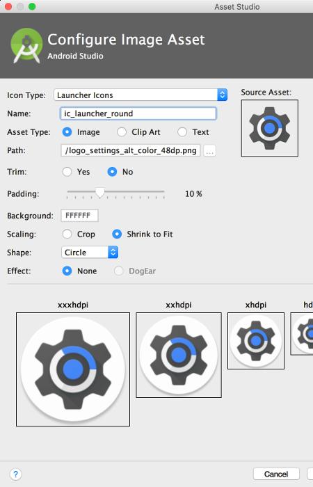 Screen displaying the Image Asset tool