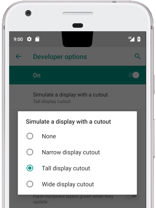 Developer options screen showing different cutout sizes