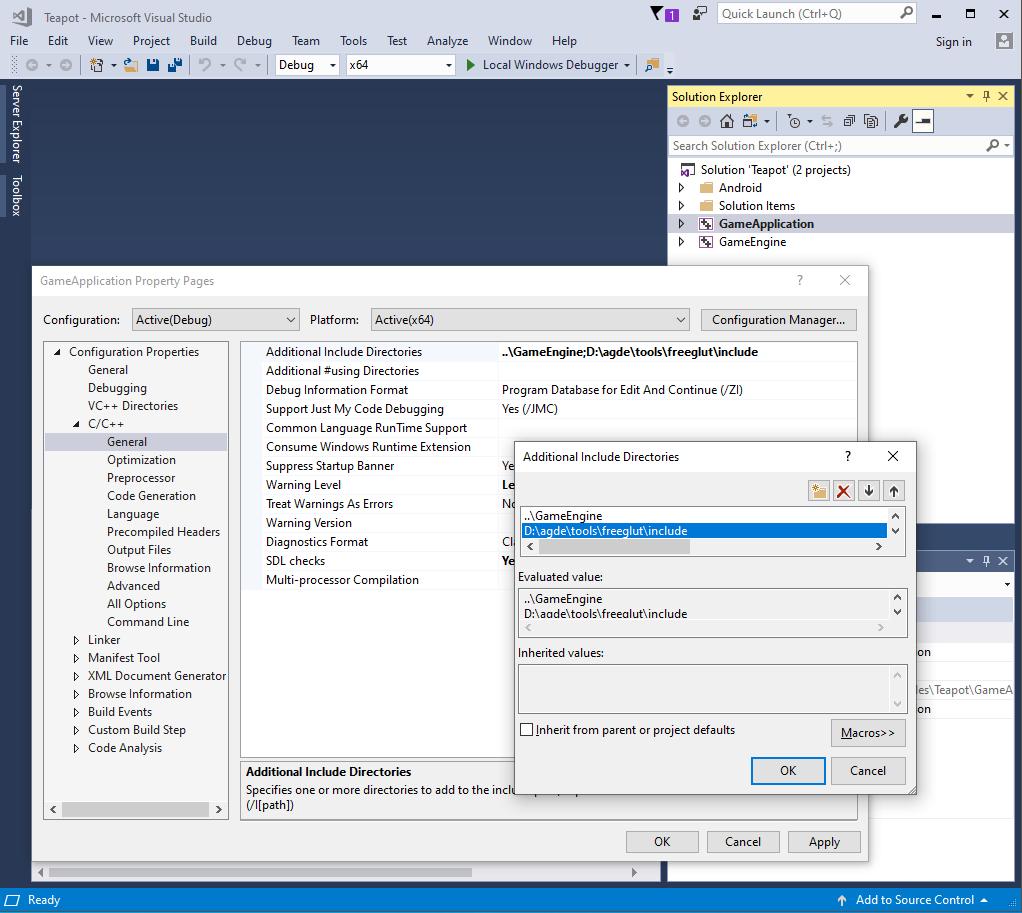 Captura de pantalla del cuadro de diálogo de Additional Include Directories.