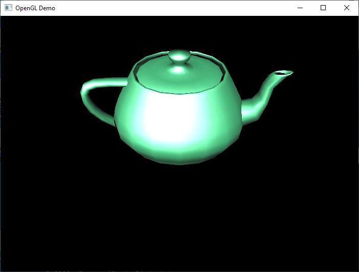 Windows 上で実行されている Teapot サンプルのスクリーンショット。
