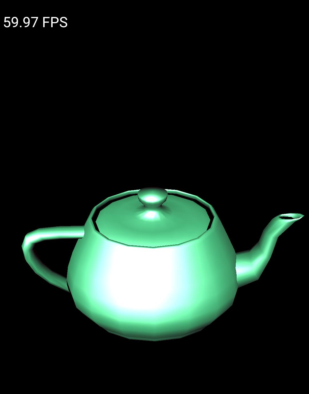 Teapot sample running on an emulator