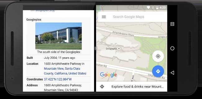 Dos apps que se ejecutan una al lado de la otra en el modo de pantalla dividida.