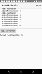 Screen showing the Active Notifications sample project