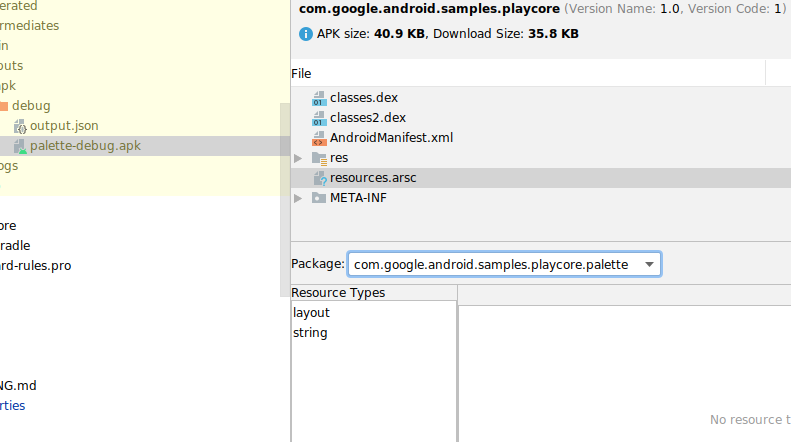 A screenshot of the APK Analyzer inspecting the contents of a compiled resource file.