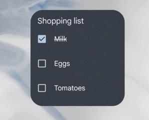 Example of shopping list widget showing stateful behavior
