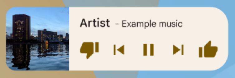 A general music app showing buttons for 'thumbs             down,' back, play/pause, forward, and 'thumbs up.' The artist and             track are listed as 'Artist' and 'Example music,' respectively.