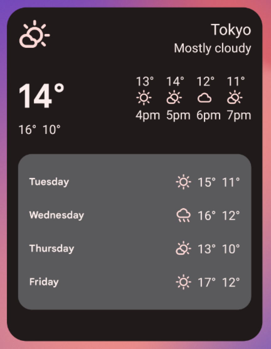 Example weather widget in a 5x4 'large' size, including all of the UI             from the 3x2- and 5x2-grid sizes plus a forecast of the weather             from Tuesday through Friday