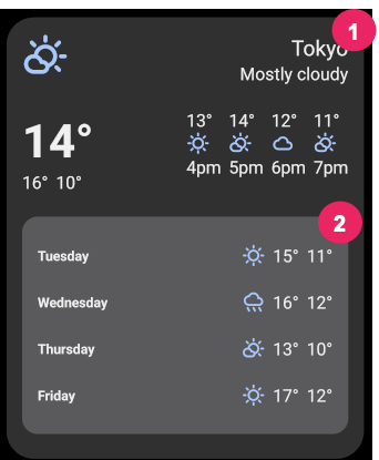 Tokyo weather widget