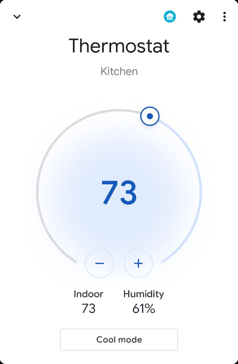 Widget do painel de temperatura (aberto)