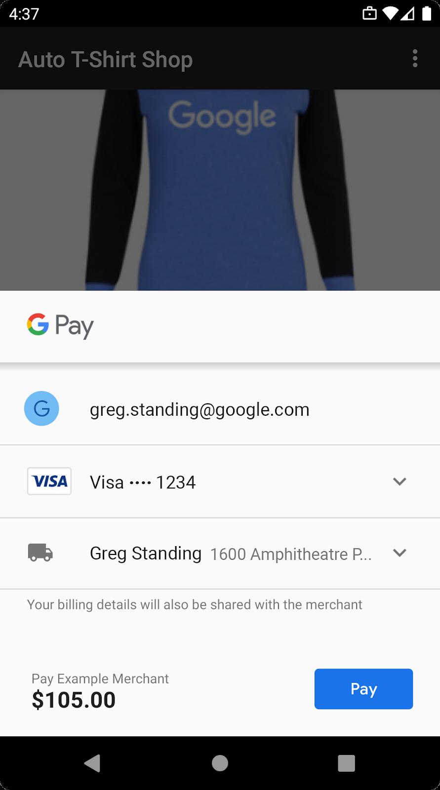 usa GooglePay para vender servicios o bienes físicos
