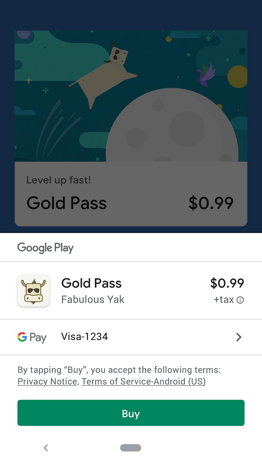 usa el sistema de facturación de GooglePlay para vender servicios o artículos digitales