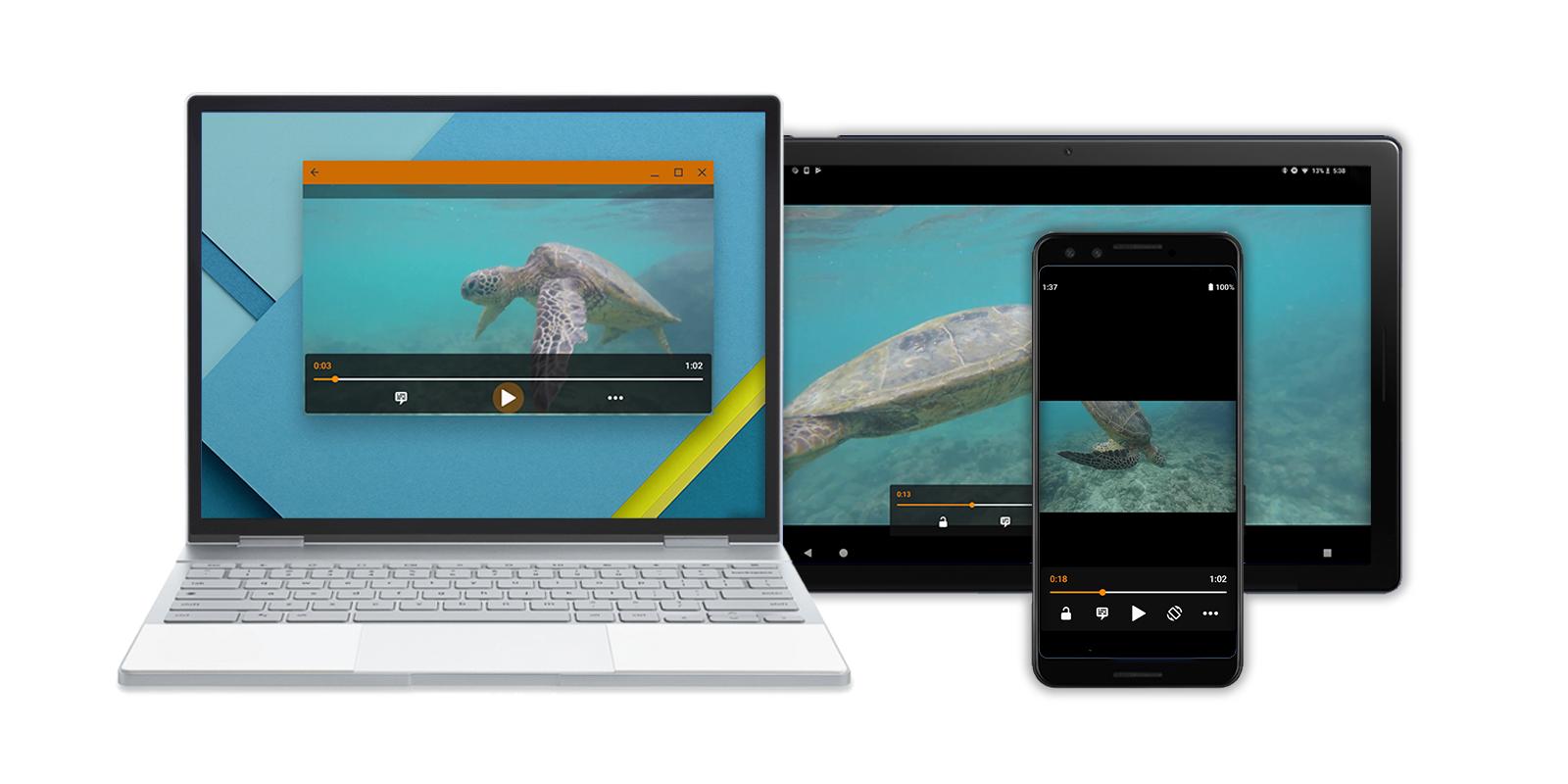動的なサイズ変更の例を示す、モバイル、タブレット、ノートパソコンの各デバイスに複数のバージョンのレイアウトで表示された画像