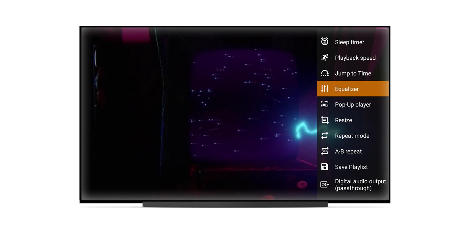 VLC는 Android TV의 대형 화면으로 즐기는 느긋한 시청 환경에 맞게 앱을 최적화합니다.