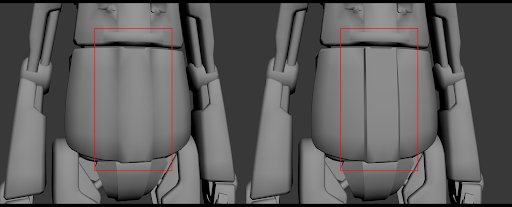 An example of a smoothing group. On the left, the robot has a smoothing group applied.