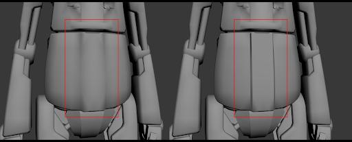 Ejemplo de un grupo de suavizado. A la izquierda, el robot tiene aplicado un grupo de suavizado.