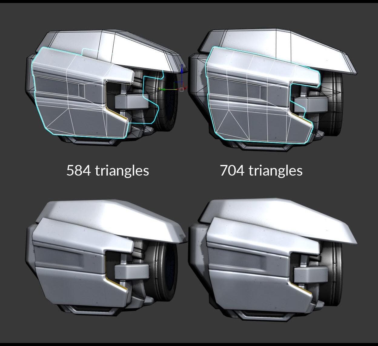 Objek di sebelah kiri memiliki 584 segitiga, sementara objek di sebelah kanan memiliki 704 segitiga.
