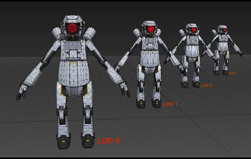 왼쪽 로봇이 가장 자세하게 표현되어 있고 가장 많은 삼각형을 사용합니다. 오른쪽 로봇은 더 멀리 있으며 덜 자세하게 표현되어 있고 삼각형을 적게 사용합니다.