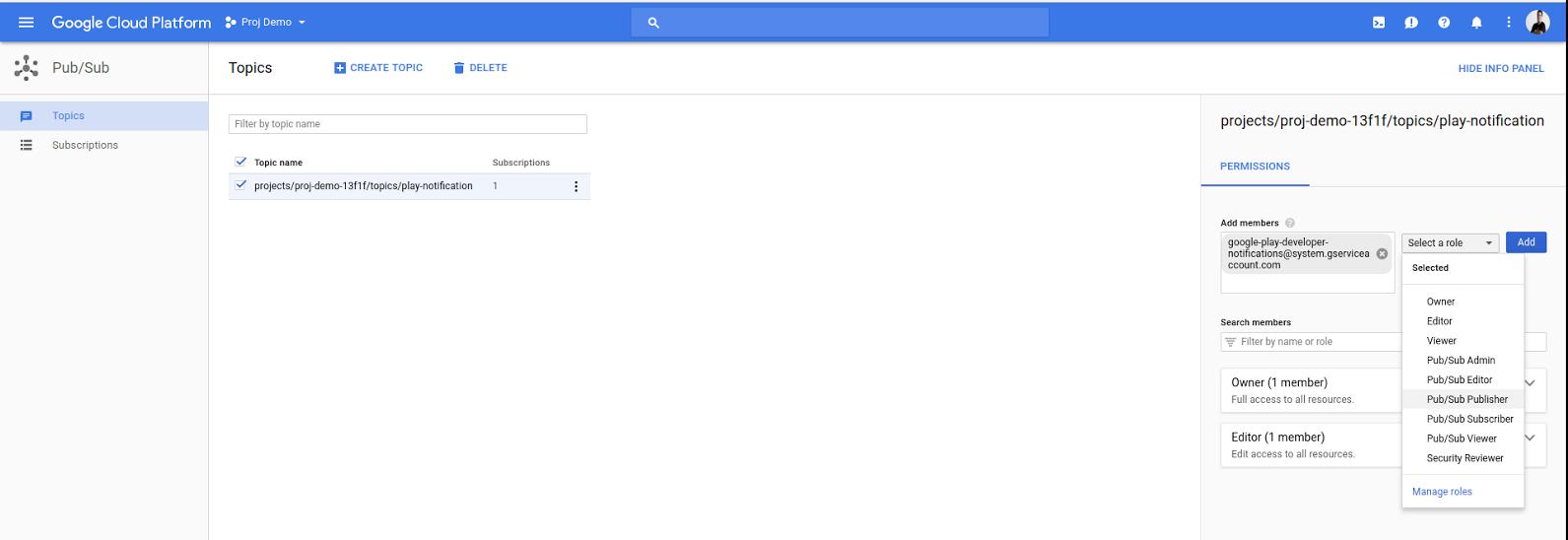 Adição de uma conta de serviço do Google Play como editora do Pub/Sub.
