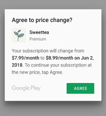 사용자에게 정기 결제 가격 변경을 알리는 일반 대화상자