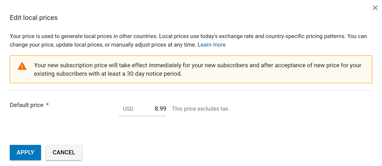 a warning appears when you edit the subscription price