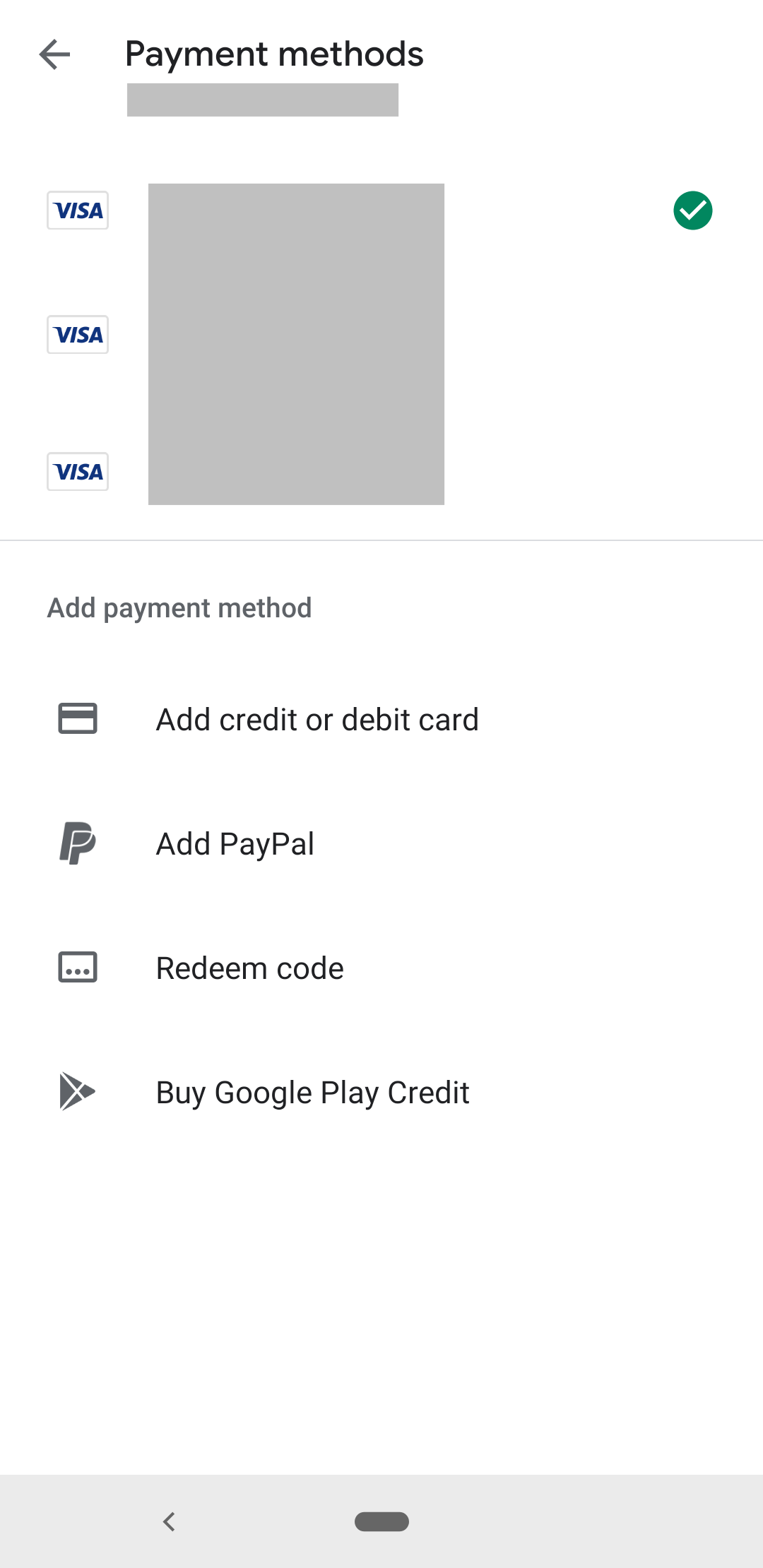 screen that lists payment methods for an in-app purchase