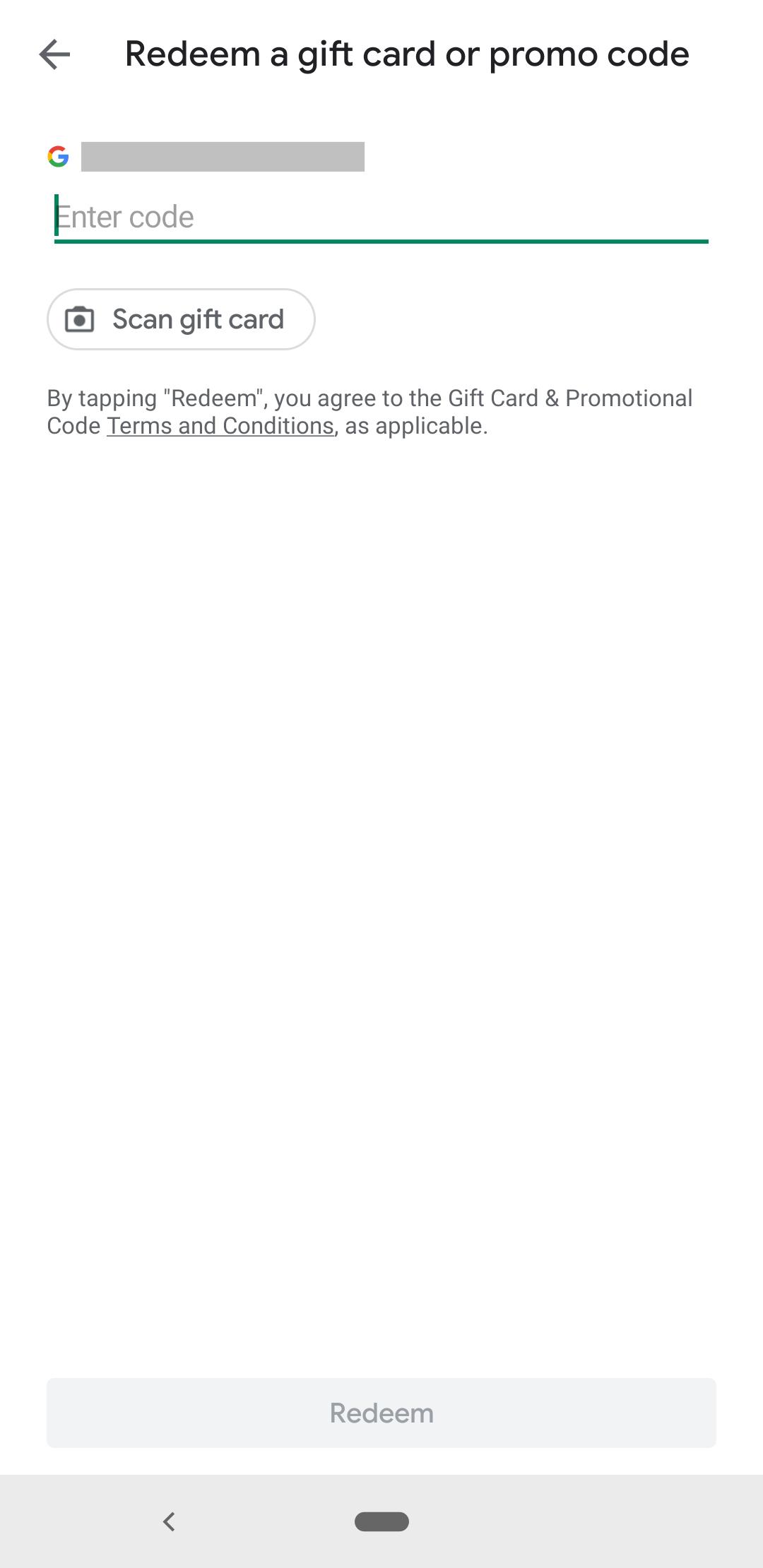 Pantalla de código promocional