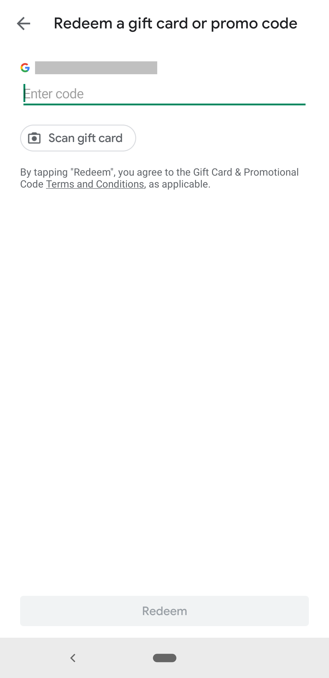 promo code screen