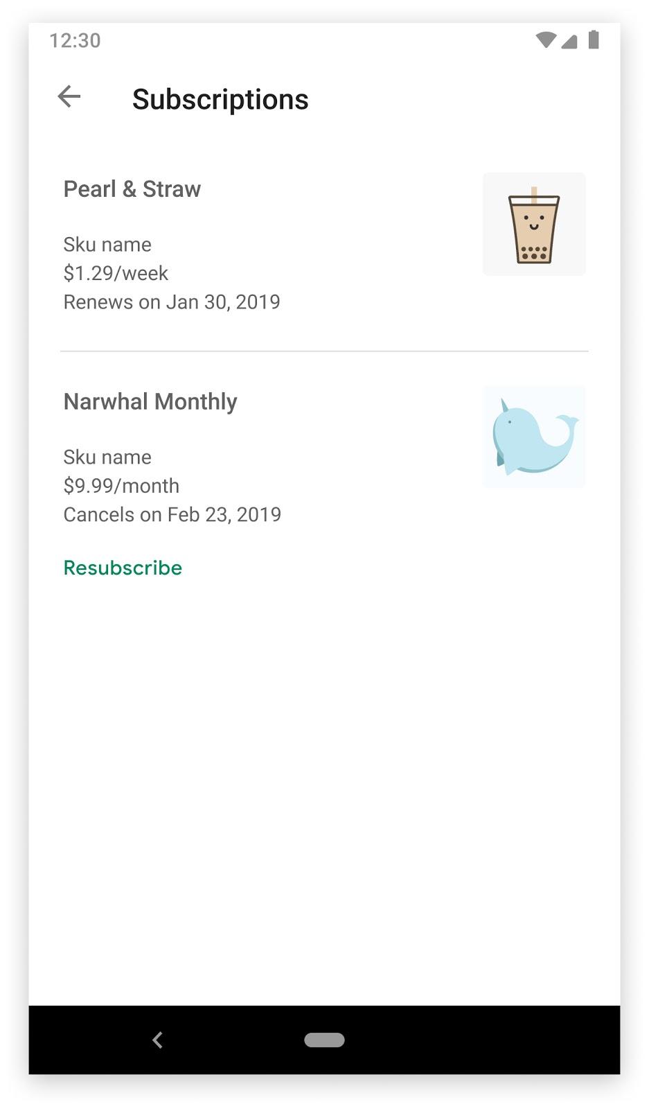 취소된 정기 결제와 정기 결제 재개 버튼이 표시된 Google Play 스토어 앱의 정기 결제 섹션