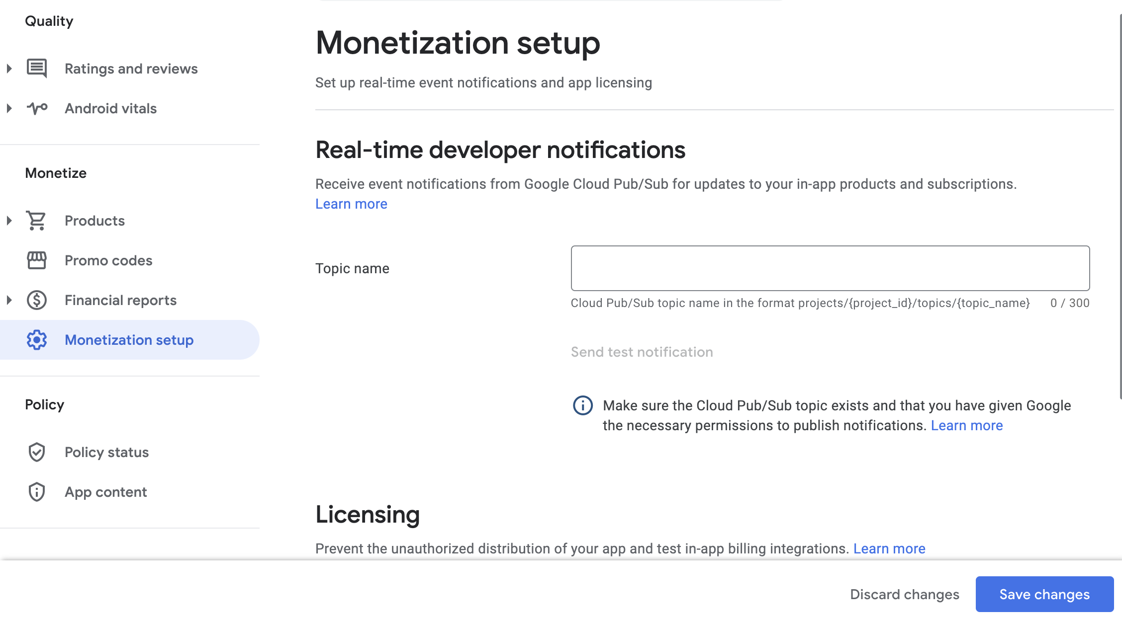 real-time developer notifications section