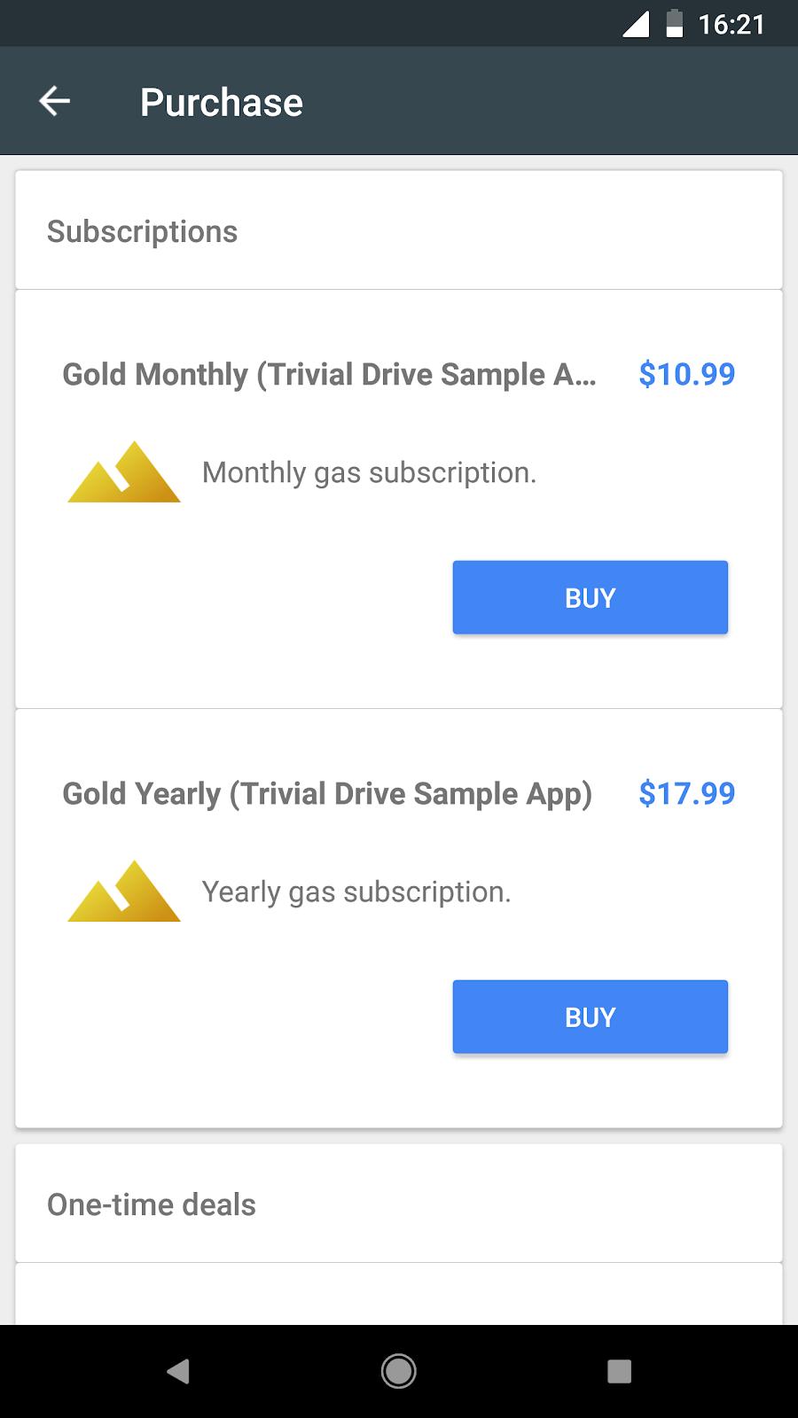 このアプリには 2 つの定期購入階層が含まれています