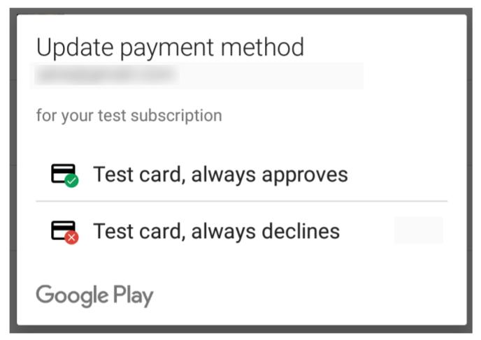 Os testadores de licença têm acesso a formas de pagamento de teste